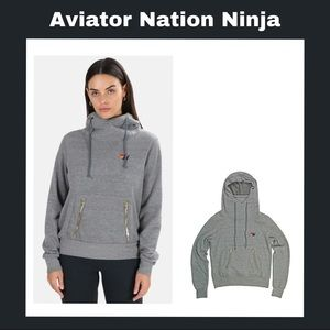 NWT Aviator Nation Ninja Grey Heather Hoodie Sz M